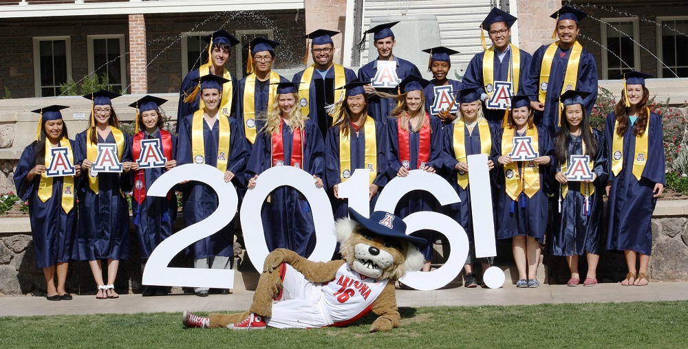 2016 CBC Graduates with Wilbur Wildcat